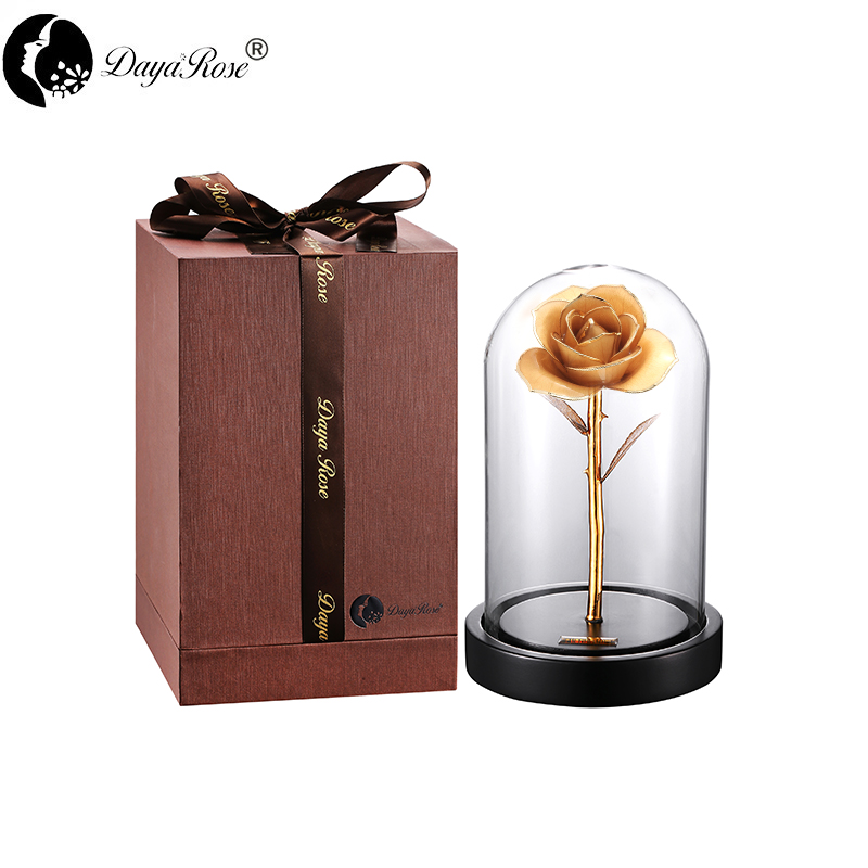 Daiya Original White Rose 24K Gold /gold Leaf+The Glass Cover