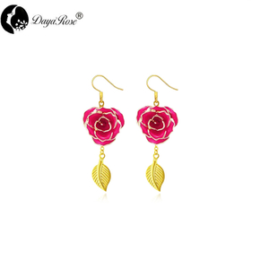 Gold Rose Earring with Leaf Design (fresh Rose)