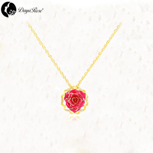 Round Gold Rose Necklace (fresh Rose)
