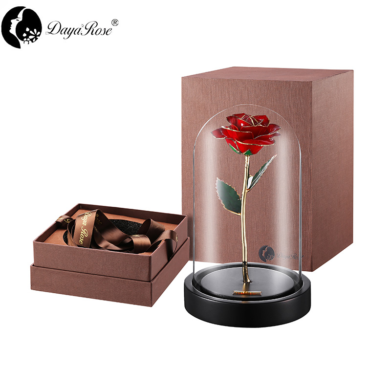 Wholesale Processing Customized Diana Red gold rose (The glass cover)