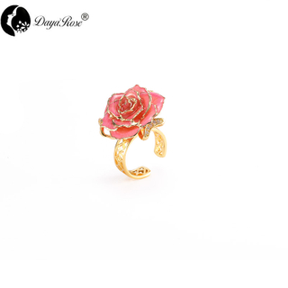 Lover Gold Rose Pink Ring (natural Flowers)