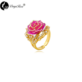 Lovers Gold Rose Rose Red Ring (natural Flowers)