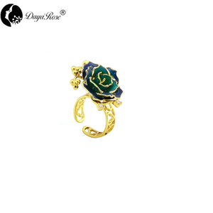 Vintage Gold Rose Ring (natural Flowers)