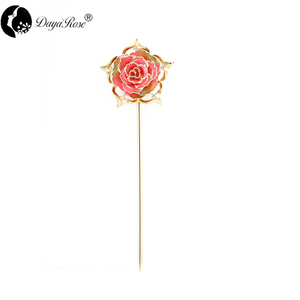 Exquisite Gold Rose Hairpin (natural Flowers)