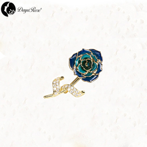 Daya Gold Rose Colour Brooch (natural Flowers)