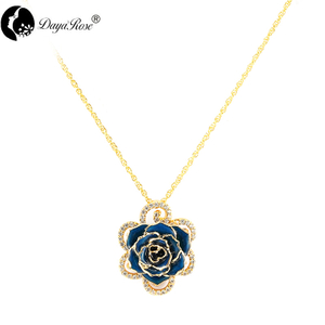 Diamond Lace Blue Rose Necklace (fresh Rose)