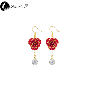 Round Diamond Gold Rose Earrings (fresh Rose)