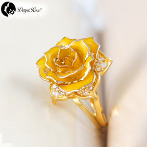Jinling Love Gold Rose Ring (natural Flowers)