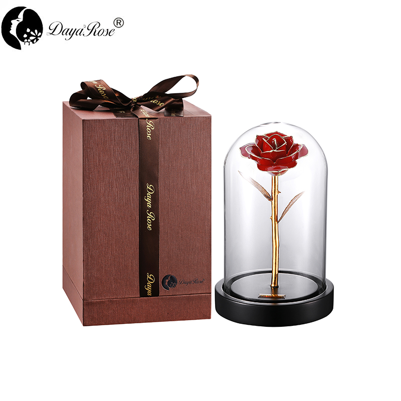 Daiya Red Rose 24K Gold /gold Leaf+The Glass Cover