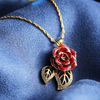 Double Leaf Red Rose Necklace (fresh Rose)