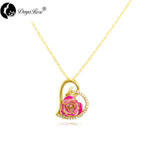 Heart-shaped Diamond Gold Rose Necklace (fresh Rose)